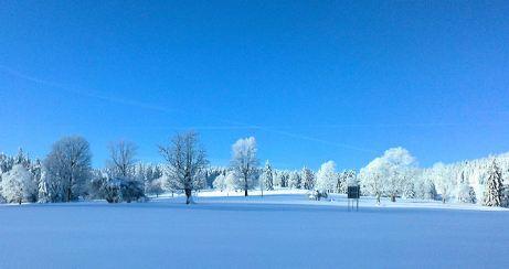 dunkelblauer Winterhimmel im Jura